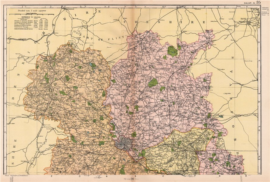 Associate Product SHROPSHIRE (NORTH). Showing Parliamentary divisions & parks. BACON 1901 map