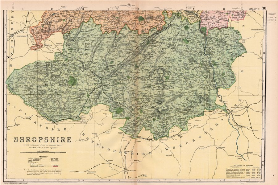 Associate Product SHROPSHIRE (SOUTH). Showing Parliamentary divisions & parks. BACON 1901 map