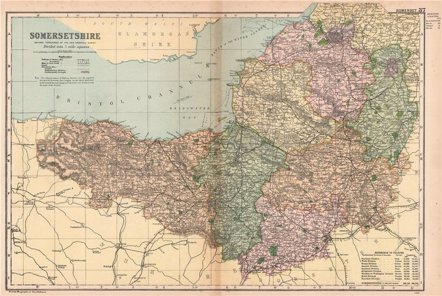 Associate Product SOMERSETSHIRE. Showing Parliamentary divisions, boroughs & parks. BACON 1901 map