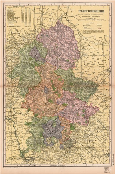 Associate Product STAFFORDSHIRE. Showing Parliamentary divisions, boroughs & parks. BACON 1901 map