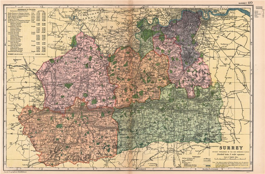 Associate Product SURREY. Showing Parliamentary divisions, boroughs & parks. BACON 1904 old map