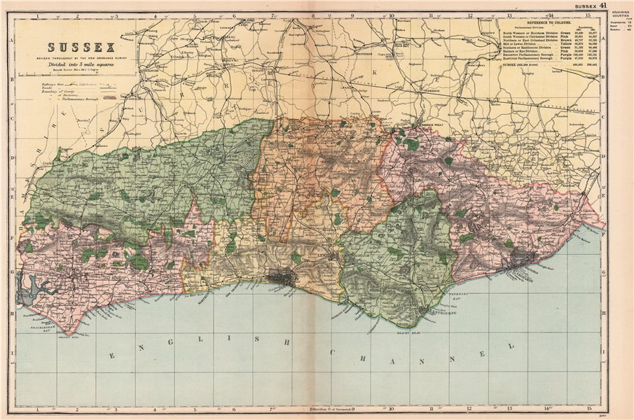 Associate Product SUSSEX. Showing Parliamentary divisions, boroughs & parks. BACON 1901 old map