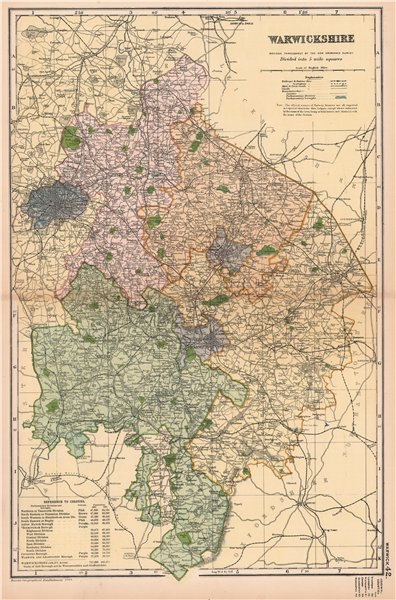 WARWICKSHIRE. Showing Parliamentary divisions, boroughs & parks. BACON 1904 map