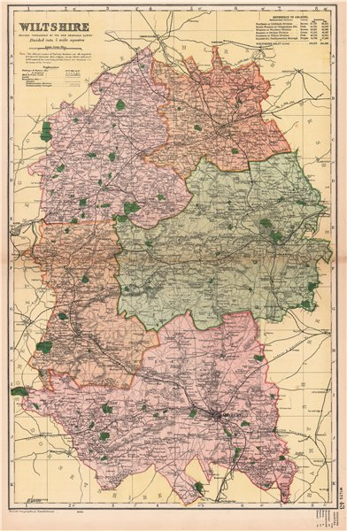 Associate Product WILTSHIRE. Showing Parliamentary divisions, boroughs & parks. BACON 1901 map