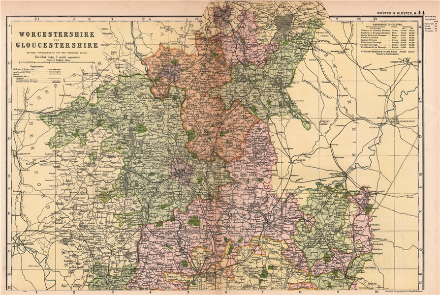Associate Product WORCESTERSHIRE AND GLOUCESTERSHIRE NORTH. Parliamentary divisions.BACON 1904 map
