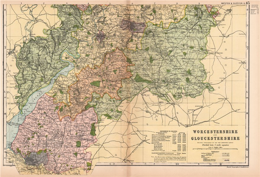 Associate Product WORCESTERSHIRE AND GLOUCESTERSHIRE SOUTH. Parliamentary divisions.BACON 1901 map