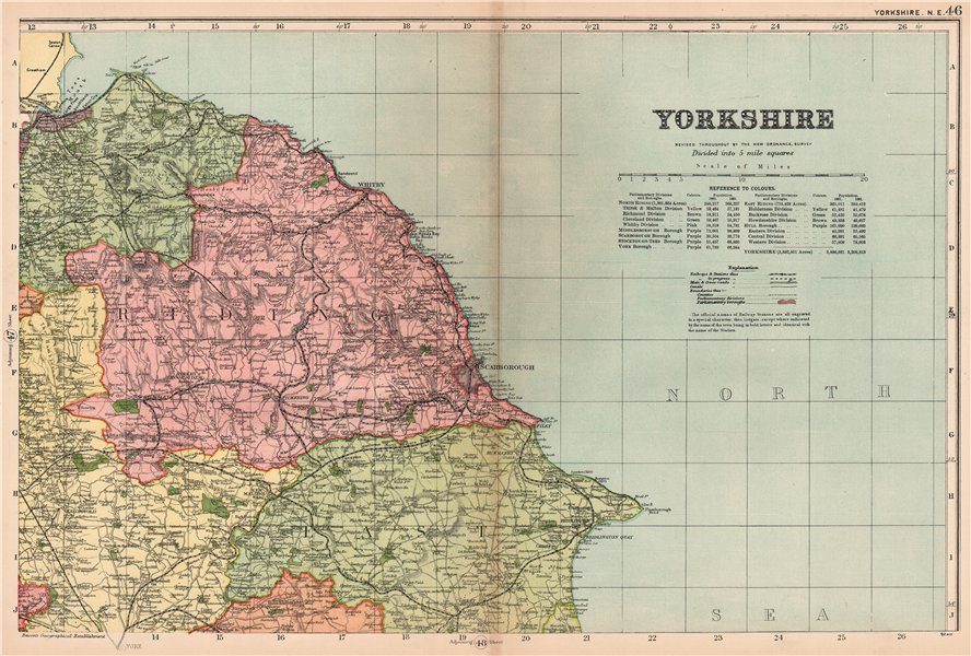 Associate Product YORKSHIRE (NORTH EAST). Showing Parliamentary divisions & parks. BACON 1904 map