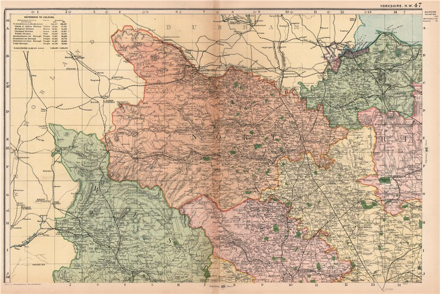 Associate Product YORKSHIRE (NORTH WEST). Showing Parliamentary divisions & parks. BACON 1904 map