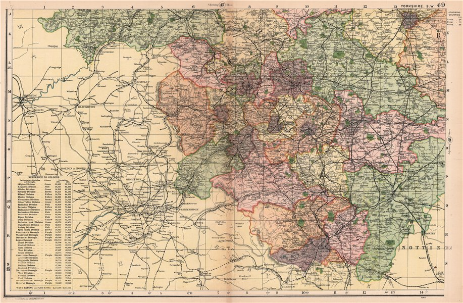 Associate Product YORKSHIRE (SOUTH WEST). Showing Parliamentary divisions & parks. BACON 1904 map