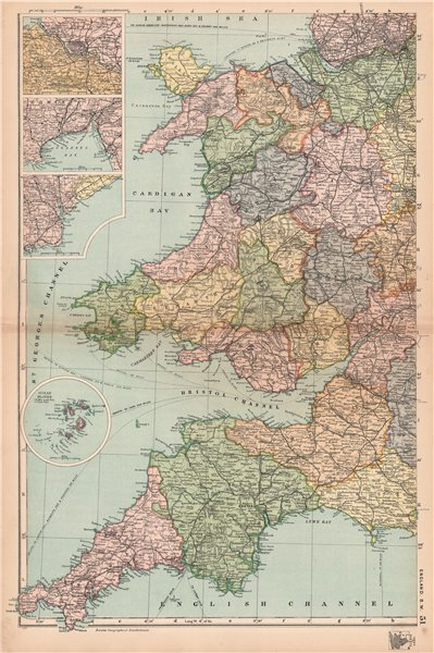 Associate Product ENGLAND SOUTH WEST/WALES. Bristol Gower Cardiff environs.Railways.BACON 1904 map