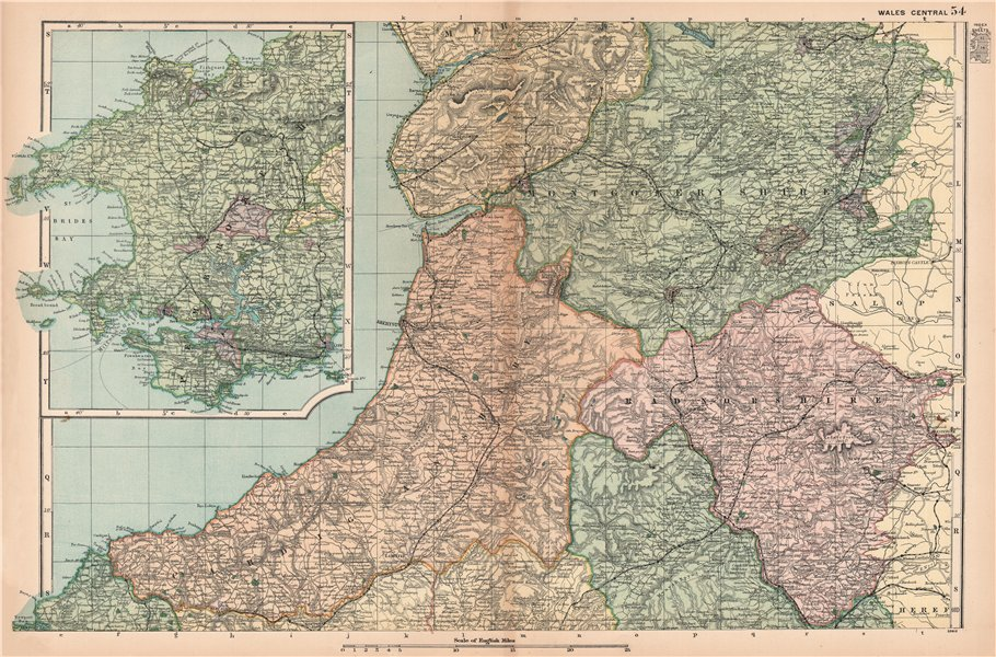 Associate Product CENTRAL WALES & PEMBROKESHIRE. Showing Parliamentary divisions. BACON 1901 map
