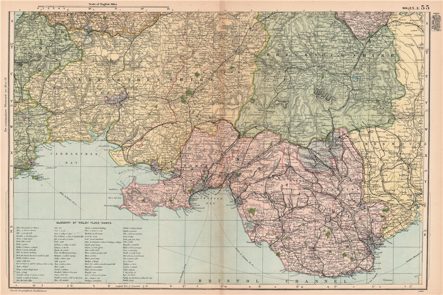 Associate Product SOUTH WALES. Parliamentary divisions. Welsh place name Glossary. BACON 1901 map