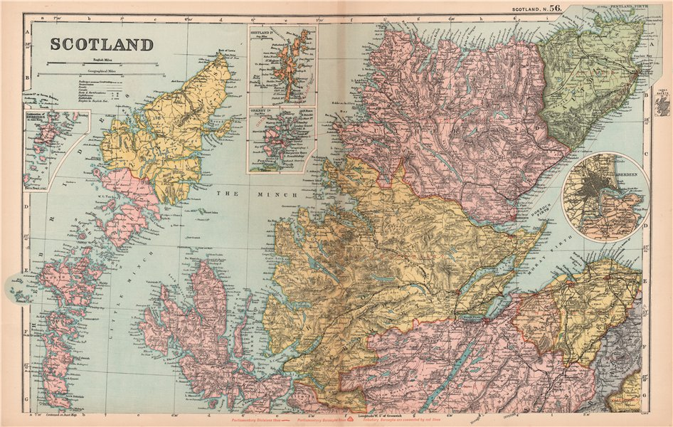 Associate Product SCOTLAND HIGHLANDS & ISLANDS. Parliamentary divisions/boroughs. BACON 1904 map