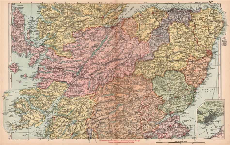 Associate Product SCOTLAND CENTRAL Tayside Grampian Highland.Parliamentary Railways.BACON 1904 map