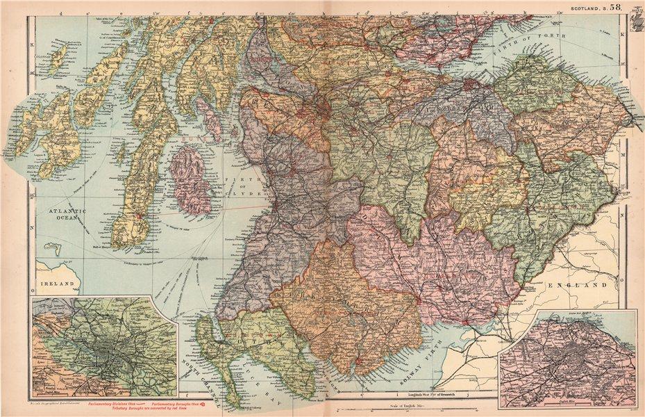 Associate Product SCOTLAND SOUTH Edinburgh Glasgow environs Parliamentary Railways. BACON 1904 map
