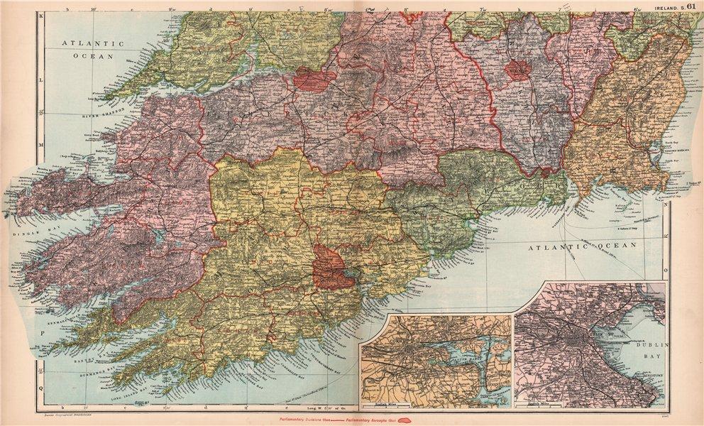 Associate Product IRELAND SOUTH. Cork Dublin environs. Parliamentary. Railways. BACON 1901 map
