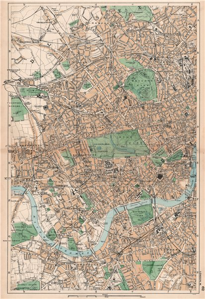 Associate Product LONDON WEST. Westminster Camden Chelsea Wandsworth Kensington. BACON 1901 map