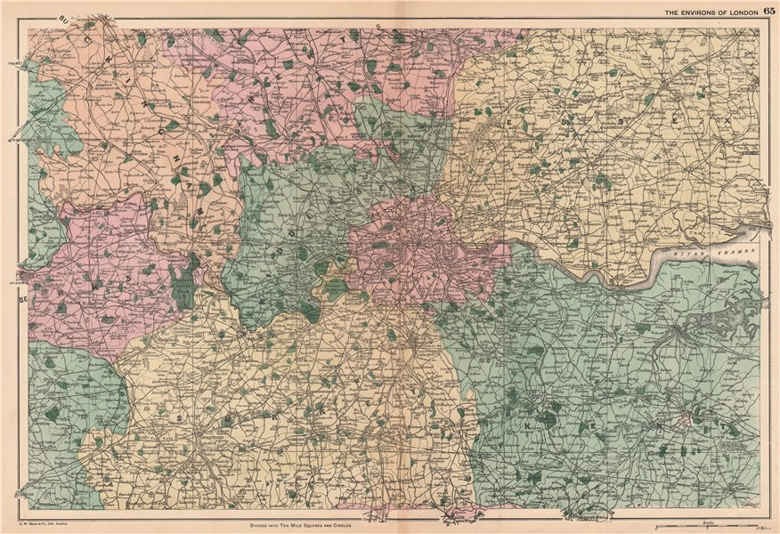 Associate Product LONDON ENVIRONS. Home counties. Railways & parks. BACON 1904 old antique map