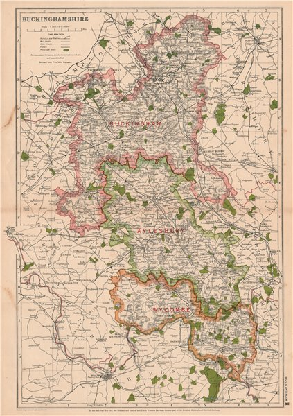 Associate Product BUCKINGHAMSHIRE. Showing Parliamentary divisions,boroughs & parks.BACON 1927 map
