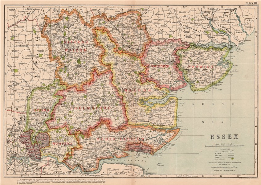 Associate Product ESSEX. Showing Parliamentary divisions, boroughs & parks. BACON 1927 old map