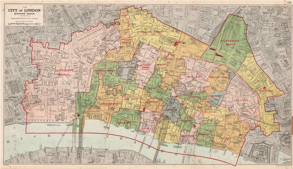City Of London On Map.Details About City Of London Showing Wards Churches Public Buildings Plans Bacon 1927 Map