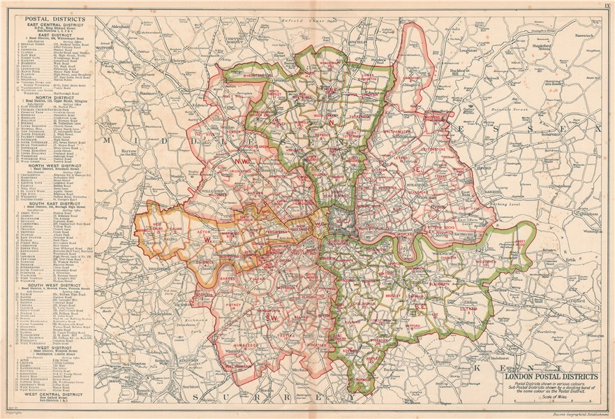 LONDON POSTAL DISTRICTS. Post code areas. N NW W SW SE E. BACON 1920 old map