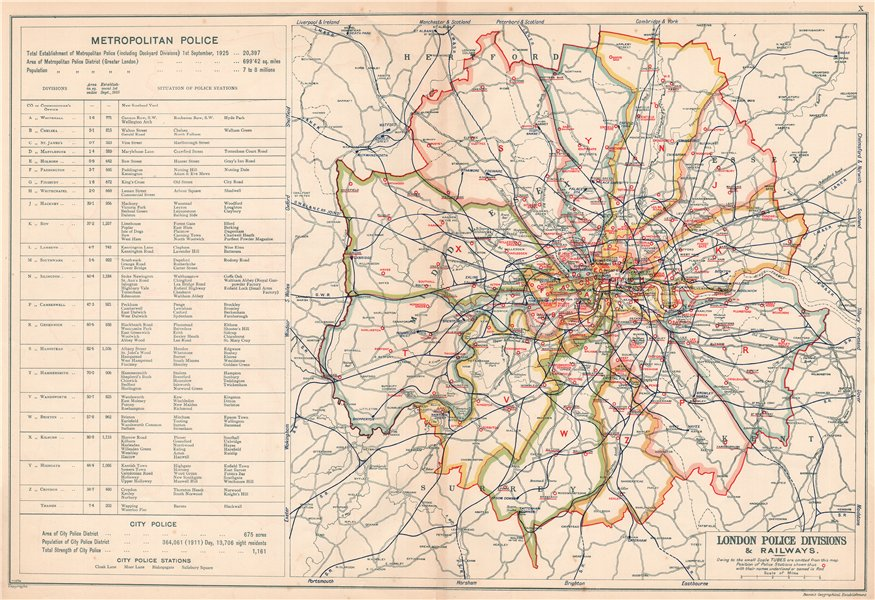 LONDON POLICE DIVISIONS & RAILWAYS showing Police stations. BACON 1920 old map