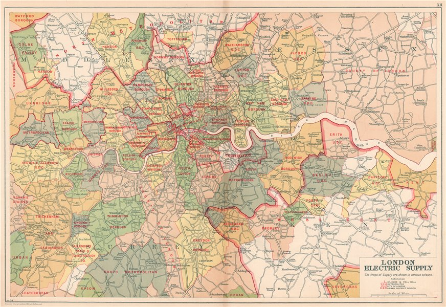 Associate Product LONDON ELECTRICITY SUPPLY areas. Corporation. Metropolitan. BACON 1927 old map
