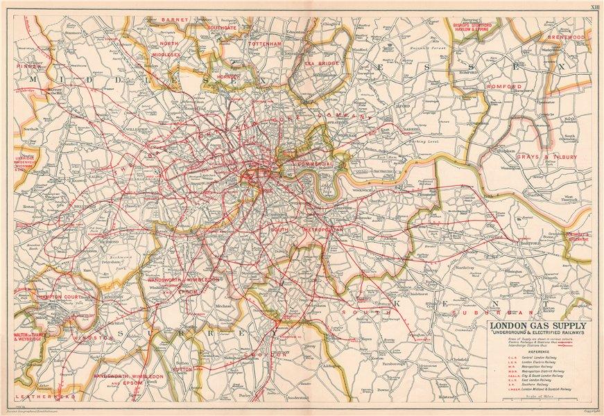 Associate Product LONDON GAS SUPPLY areas + UNDERGROUND/Tube & electrified railways.BACON 1927 map