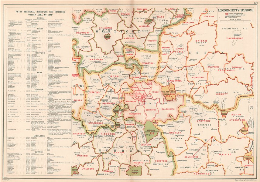 LONDON PETTY SESSIONS/sessional boroughs/divisions. Law. Courts. BACON 1920 map