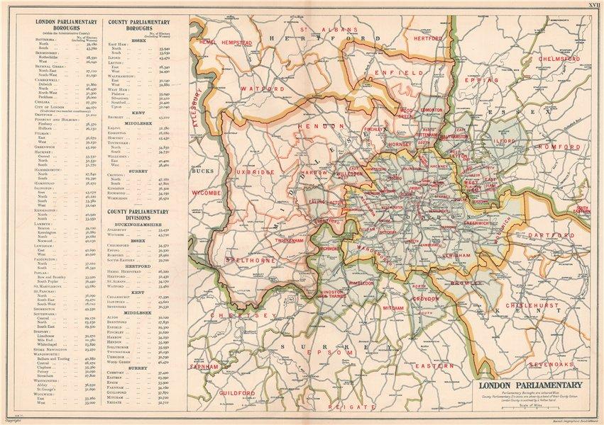 GREATER LONDON PARLIAMENTARY. Constituencies Boroughs # electors. BACON 1927 map