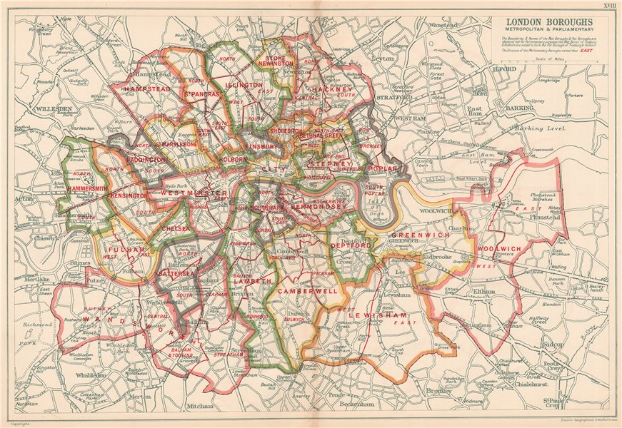 LONDON POOR LAW UNIONS. Workhouses. Populations. BACON 1920 old vintage map