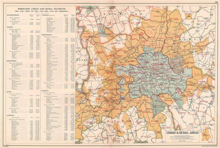 LONDON showing Municipal Boroughs, Urban Districts & Rural areas. BACON 1920 map