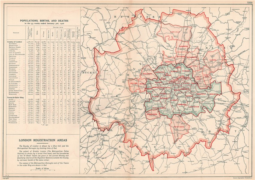 LONDON POPULATION, BIRTHS & DEATHS for 1926. County of London. BACON 1920 map