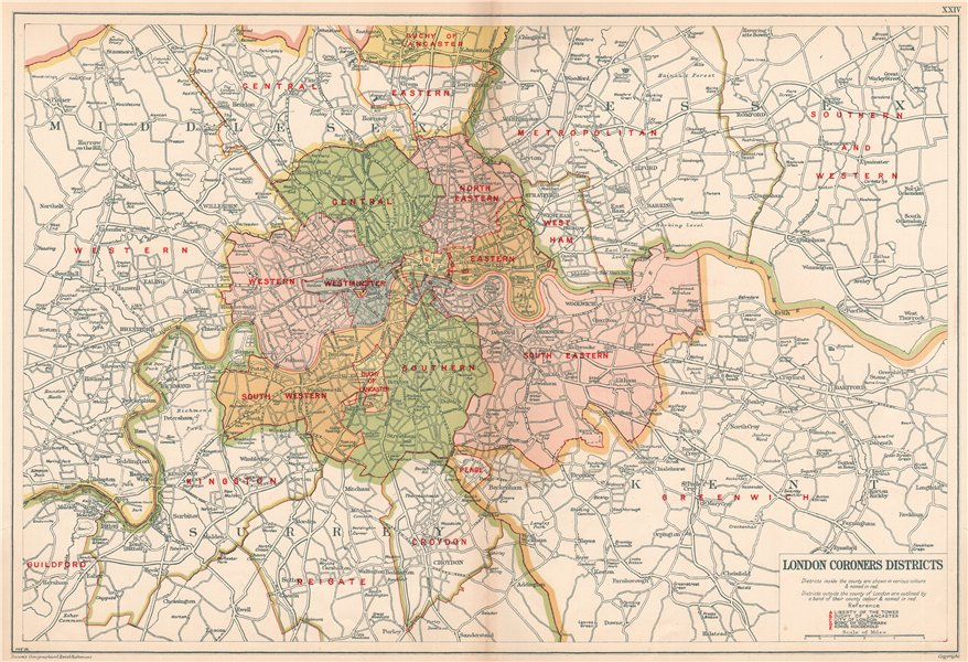 Associate Product LONDON CORONERS DISTRICTS. Vintage map. BACON 1927 old vintage plan chart