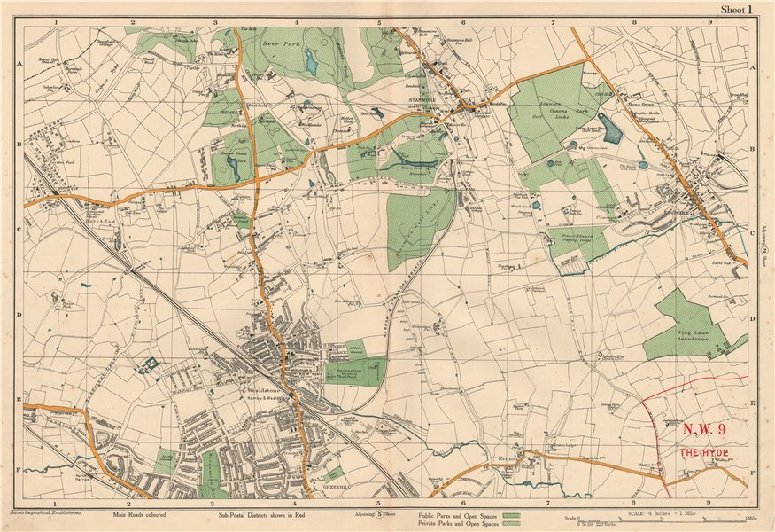 Associate Product STANMORE Wealdstone Edgware Pinner North Harrow Kenton The Hyde. BACON 1927 map