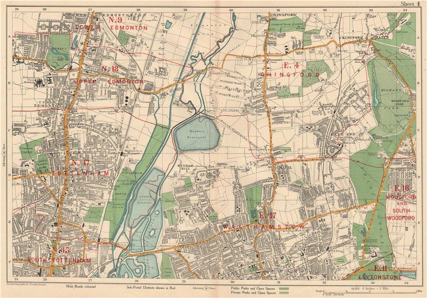 Associate Product NE LONDON Chingford Walthamstow Edmonton Tottenham Woodford. BACON 1927 map