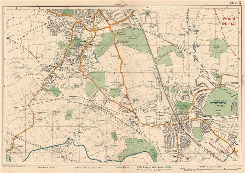 Associate Product NW LONDON Wembley Harrow on the Hill Kenton Northolt Sudbury. BACON 1927 map