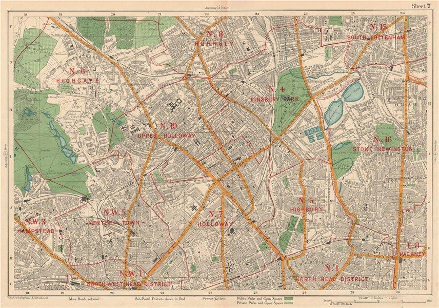 Associate Product N LONDON Finsbury Park Highgate Holloway Stoke Newington Camden. BACON 1927 map