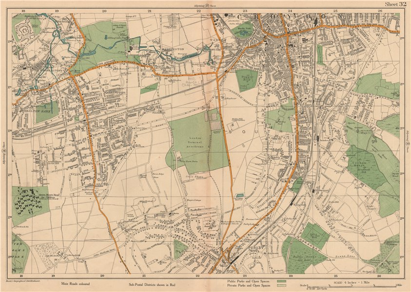 Associate Product SOUTH CROYDON Carshalton Wallington Waddon Beddington Purley. BACON 1927 map