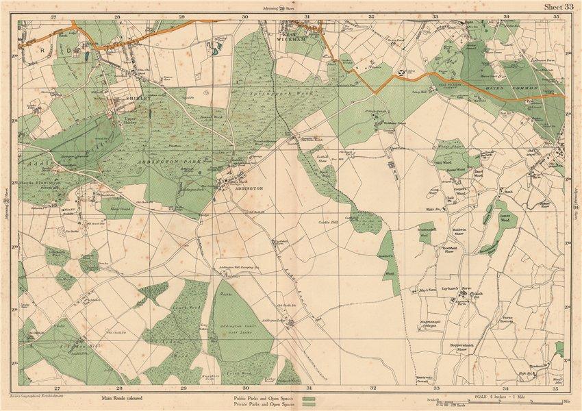 Associate Product EAST CROYDON Selsdon West Wickham New Addington Hayes Shirley. BACON 1927 map