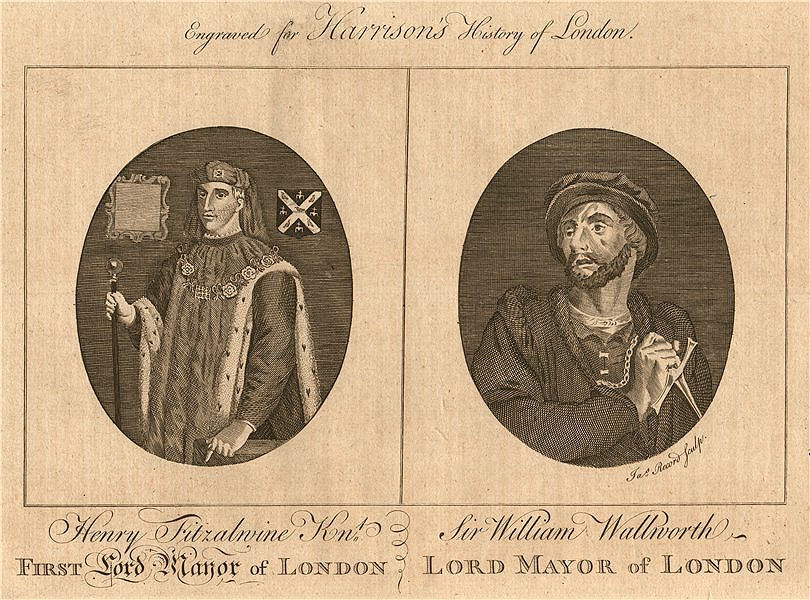 Associate Product LORD MAYORS OF LONDON. Henry Fitz-Ailwin. Sir William Walworth. HARRISON 1775