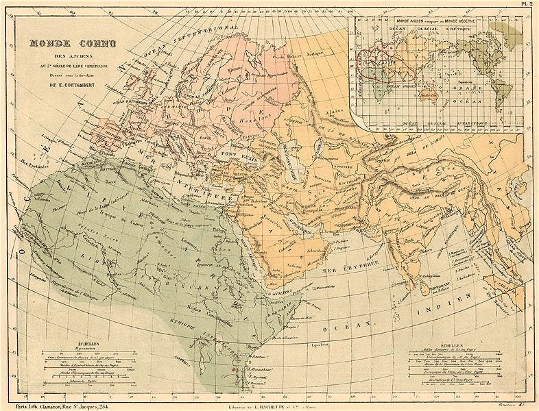 Associate Product ANCIENT WORLD as known in the 2nd century AD. Cf with Modern World 1880 map