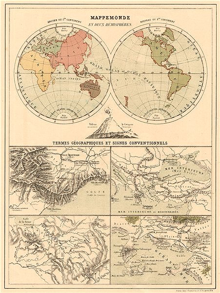 Associate Product WORLD IN TWIN HEMISPHERES. Geographic terms & signs. Alpes Maritime 1880 map