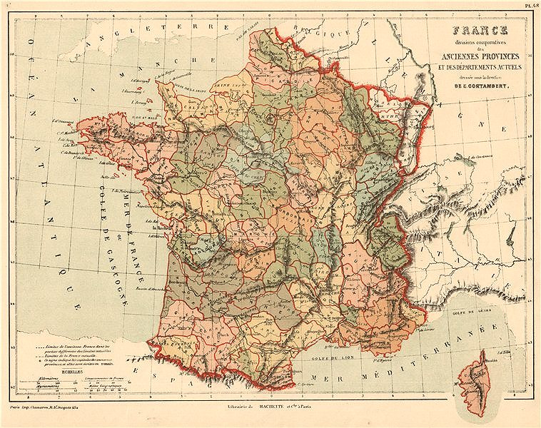 Associate Product FRANCE showing provinces <1789 and departements. CORTAMBERT 1880 old map