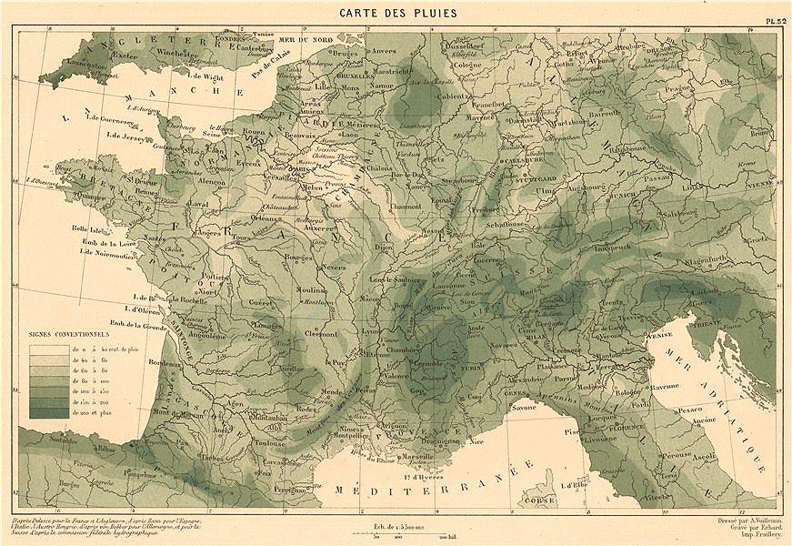 Associate Product FRANCE RAINFALL. Precipitation. CORTAMBERT 1880 old antique map plan chart