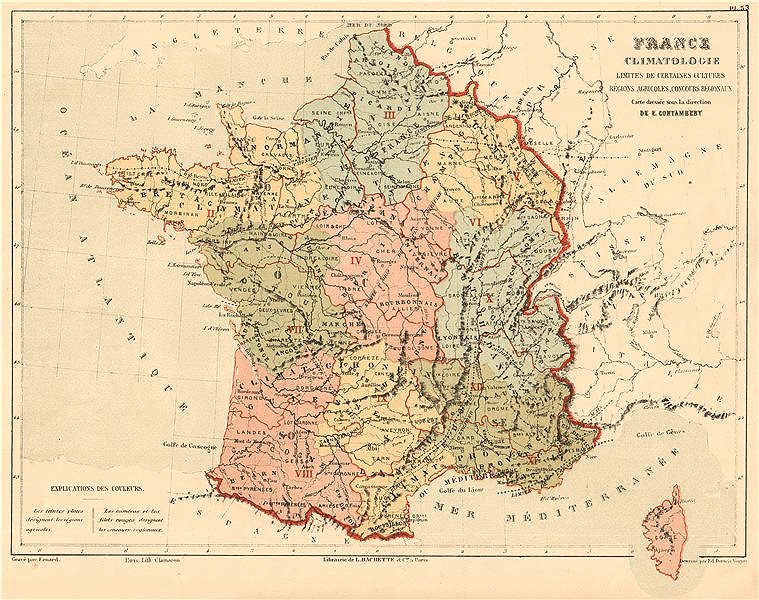 Associate Product FRANCE CLIMATE Climatology showing limits of crops/agricultural regions 1880 map