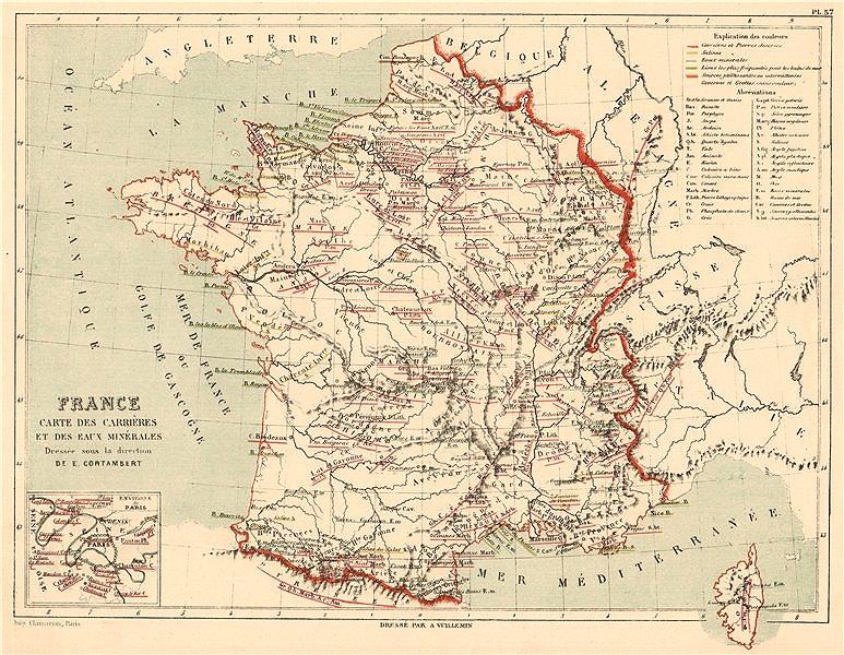 Associate Product FRANCE ROCK TYPES & MINERAL WATER SOURCES. Carrières. Eaux Minérales 1880 map