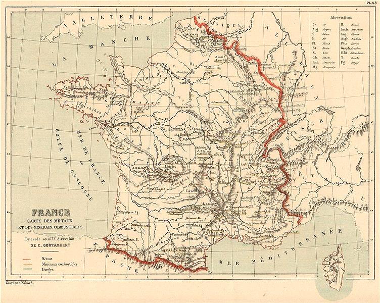 FRANCE METAL & MINERAL RESOURCES. Métaux Minéraux. Coal oil Iron Gold 1880 map