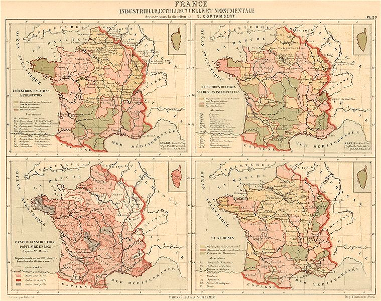 Associate Product FRANCE Intellectual Industrial Monumental Educational. Industrielle 1880 map